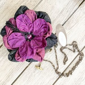 MARY FRANCES Purple Petals Beaded Bag